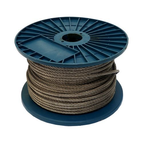 TOPTRADE lano ocelové, pozinkované, na cívce, 1 x 19 drátů, průměr 2 mm x 200 m
