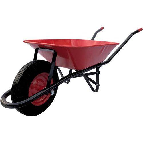 TOPTRADE kolečko stavební červenočerné, tažená korba, kolo nafukovací, 60 l