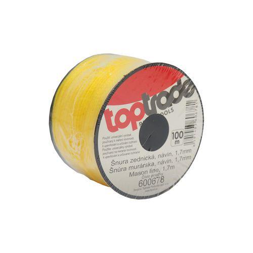 TOPTRADE šňůra zednická PE, 1,7 mm x 100 m, žlutá