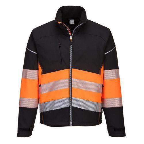 Softshellová bunda PW3 Hi-Vis Třída 1, černá/oranžová