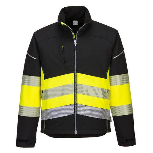 Softshellová bunda PW3 Hi-Vis Třída 1, černá/žlutá