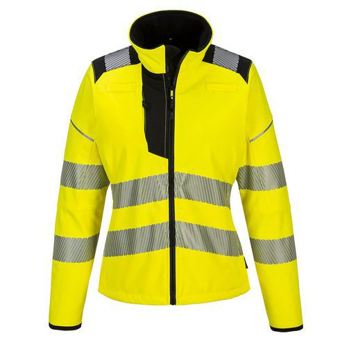 Dámská softshellová bunda PW3 Hi-Vis, černá/žlutá